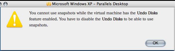 「Undo Disks」が有効化された状態では、新たなスナップショットノードは作成不可(Ver.3.0)