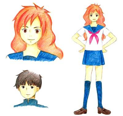 『その後の画集』の参考例:高校生になったポニョの設定資料。 子どもの頃の性格をそのまま引き継ぎながらも、少女らしく健やかに成長した姿が描かれている。