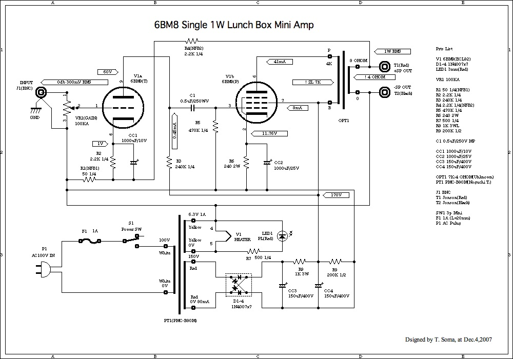 6bm8 on tube amp schematic 1w